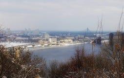 Kiev e distrito histórico Podol Inverno foto de stock royalty free
