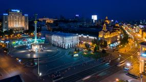 Kiev Evening Khreshchatyk from the height Stock Images