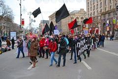Feministisk demonstration för ungdom på Kreshatik i Kiev, Arkivbild