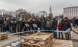 KIEV Februari 21: I Kiev på Sts Michael fyrkantiga prövkopior av mi Royaltyfri Bild