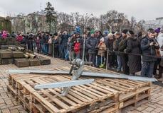 KIEV Februari 21: I Kiev på Sts Michael fyrkantiga prövkopior av mi Royaltyfri Fotografi