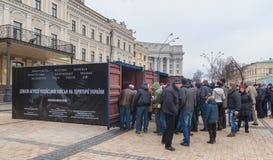 KIEV Februari 21: I Kiev på Sts Michael fyrkantiga prövkopior av mi Fotografering för Bildbyråer