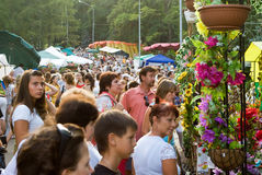Kiev flowers festival. The Kiev flowers festival by Day of Independence of Ukraine stock photo