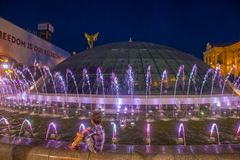 Kiev Fountains on Maidan Nezalezhnosti Stock Image