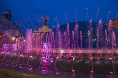 Kiev Fountains on Maidan Nezalezhnosti Royalty Free Stock Images