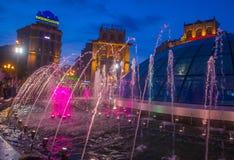 Kiev Fountains on Maidan Nezalezhnosti Stock Images