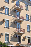 Kiev, a fragment of the building with balconies Stock Photos