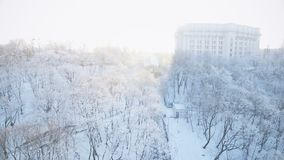 Kiev Funicular along the snowy slope stock footage