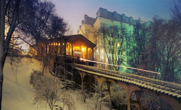 Kiev funicular in the fog in winter Royalty Free Stock Image