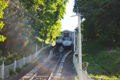 The Kiev Funicular  fron Poshtova square to Mykhailivska Square. Kyiv, Ukraine - May 5, 2014. The Kiev Funicular  fron Poshtova square to Mykhailivska Square stock images