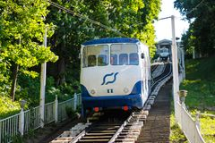 The Kiev Funicular  fron Poshtova square to Mykhailivska Square stock photography
