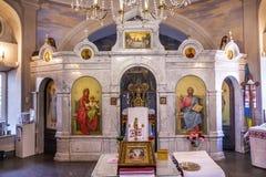 Kiev grave Ucraina di Nicholas Church Askold del san delle icone dell'altare Fotografia Stock