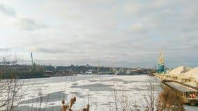 Kiev harbor in winter Royalty Free Stock Image