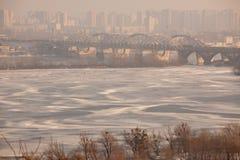 Kiev i vinter Arkivfoton