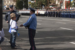 In Kiev on Khreshchatyk military parade Stock Images