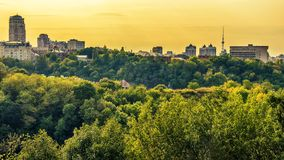 Kiev or Kiyv, Ukraine: aerial panoramic view of the city center. In the summer Royalty Free Stock Image