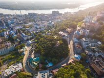 Kiev Kiyv Ukraine Andriyivskyy Descent. Aerial view fron above. Historical center. Kiev`s Places of Interest Royalty Free Stock Images