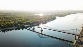 Kiev Kiyv Ukraine capital. River Dnepr Dnipro Parkivyi Bridge to Truhaviv island Aerial drone video footage from stock video