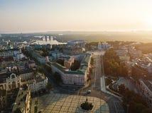 Kiev Kiyv Ukraine down town. Saint Sophia`s Cathedral, square with Bohdan Khmelnytsky Monument, St. Michael`s Golden. Domed Monastery, river Dnepr Dnipro Stock Photo