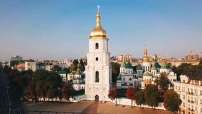 Kiev Kiyv Ukraine with Places of Interest. Saint Sophia`s Cathedral, square with Bohdan Khmelnytsky Monument. Aerial. Drone video footage. Sunrise light. Camera stock video footage