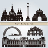 Kiev landmarks and monuments. Isolated on blue background in editable vector file Royalty Free Stock Image