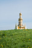 Kiev Lavra against the blue sky. Golden domes royalty free stock image