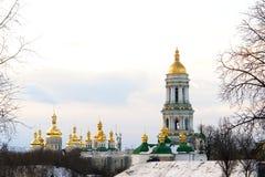 kiev lavra czasu pecherska zimy. Zdjęcie Royalty Free