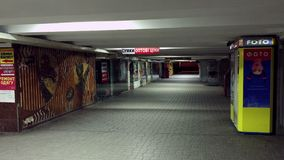 Kiev Maidan underground passage deserted at night stock footage