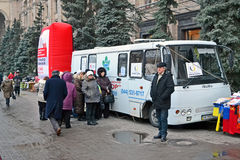 Pneumonia test scanning with mobile x-rays radiogr. KIEV - MAR 21: pneumonia test scanning with mobile x-rays radiography car in Kiev, Ukraine on March 21, 2013 Stock Photos