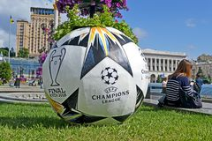 UEFA Champions League Final 2018 Symbols in Kiev, Ukraine, Stock Image