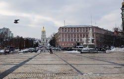 kiev Mikhailovskaya fyrkant Monument till prinsessan Olga Fotografering för Bildbyråer