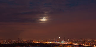 Kiev. Moon over the city. Stock Photo