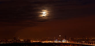 Kiev. Moon over the city. Stock Photography