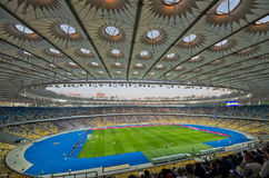 Kiev national stadium, Ukraine. KIEV,UKRAINE-MAY 10: interior  view of the olympisky stadium  on 10th may,2012, in Kiex,Ukraine. The city capital will host the Royalty Free Stock Photography