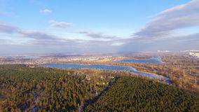Kiev nature. Lake and forest. Ukraine. Aerial photography of the lake in Kiev by drone Stock Photo