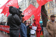 KIEV - 8 NOVEMBRE : Protestation d'Ukrainiens au-dessus d'affaire d'UE photographie stock libre de droits