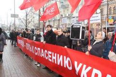 KIEV - 8 NOVEMBRE : Protestation d'Ukrainiens au-dessus d'affaire d'UE images libres de droits