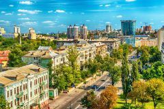 Kiev o Kiyv, Ucraina: vista panoramica aerea del centro urbano Immagini Stock Libere da Diritti