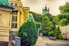 Kiev o Kiyv, Ucrania: St Andrew Orthodox Church en el centro de ciudad Fotografía de archivo