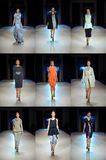 KIEV - OKTOBER 14: De modellen stellen de Oekraïense inzameling van ontwerperpoustovit spring /Summer 2011 op Centrum alta-Expo v Stock Foto's