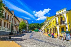 Kiev Old Town 04. Kiev Old Town Andriyivsky Descent Street Souvenir Shops with Blue Sky Background royalty free stock photos