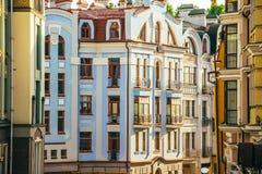 Kiev. Old town, Vozdvizhenska and Honcharna street in Kiev, Ukraine Royalty Free Stock Images