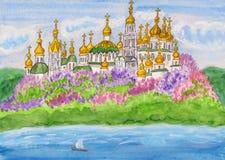 Kiev, painting. Hand drawn picture, watercolours - Kiev, capital of Ukraine Stock Photo