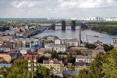 Kiev panorama to the Dnieper and bridge Royalty Free Stock Photos