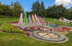 KIEV, parc de paysage d'exposition d'Ukraine-fleur à Kiev Le compositio Images stock