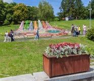 KIEV, parc de paysage d'exposition d'Ukraine-fleur à Kiev Le compositio Photographie stock libre de droits