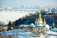 Kiev-Pechersk Lavra. Beautiful golden domes of Kiev-Pechersk Lavra in Ukraine, in winter Stock Photo