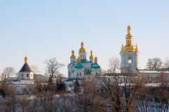 Kiev Pechersk Lavra. Part of the temple complex of the Kiev Pechersk Lavra. Winter, sunny day Royalty Free Stock Photography
