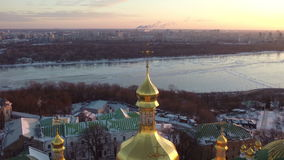 Kiev Pechersk Lavra (city view) stock video footage
