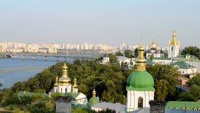 Kiev Pechersk Lavra, Dnieper river and bridge, Kiev, stock video